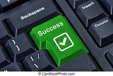 botón, telclado numérico, éxito, internet, concept.