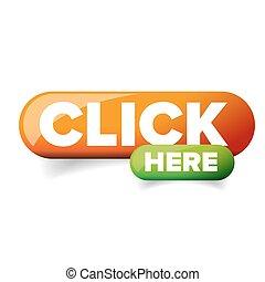 botón, vector, haga clic aquí