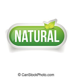 botón, vector, natural, hojas