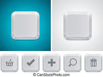 botón, vector, ordenador teclado