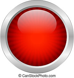 botón, vector, rojo