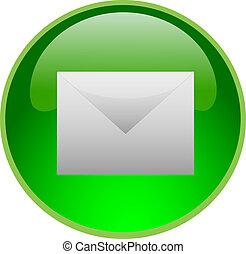 botón, verde, email