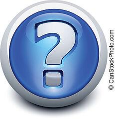 botón, vidrioso, signo de interrogación