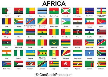 botões, áfrica, bandeiras