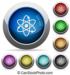 botões, átomo, redondo, lustroso