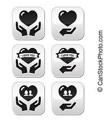 botões, ame coração, mãos