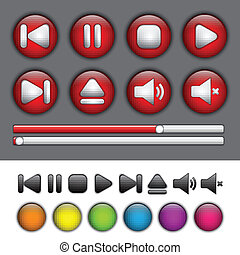 botões, aplicação, mídia, símbolos, jogador, redondo