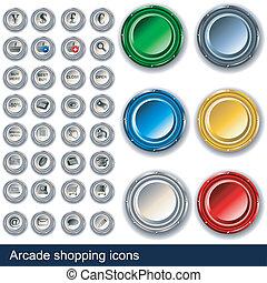 botões, arcada fazendo compras