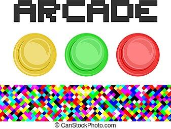 botões, arcada, ilustração
