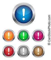botões, aviso