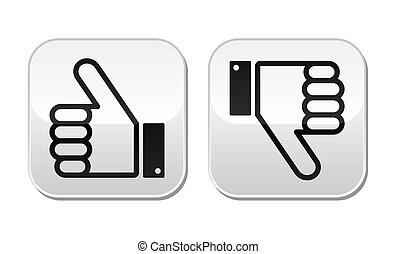 botões, baixo, jogo, polegar cima
