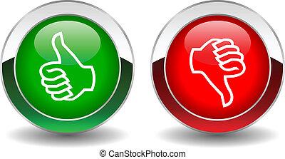 botões, baixo, vetorial, cima, polegares