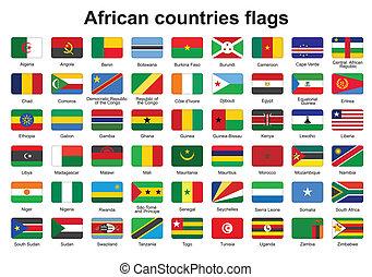 botões, bandeira, africano, países