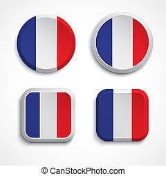 botões, bandeira, frança