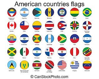 botões, bandeiras americanas