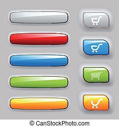botões, bandeiras, jogo, vetorial