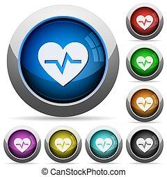botões, batida coração, redondo, lustroso
