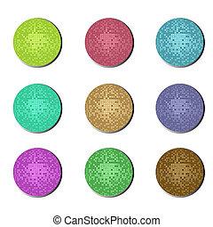 botões, bola, discoteca