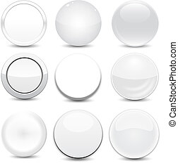 botões, branca, em branco
