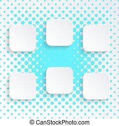 botões, branca, quadrado, em branco