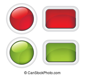 botões, branca, verde vermelho
