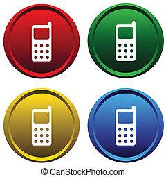 botões, célula, quatro, telefone