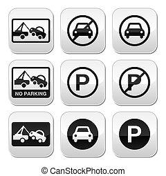 botões, carros, jogo, estacionamento, não