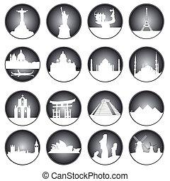 botões, cinzento, mundo, lugares, famosos
