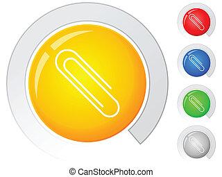 botões, clipe para papel