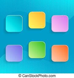 botões, coloridos, em branco