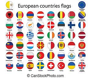 botões, com, bandeiras, de, europa