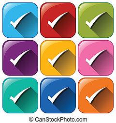 botões, com, cheque, marcas