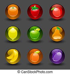 botões, com, fruta