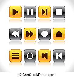 botões, com, mídia, icons.