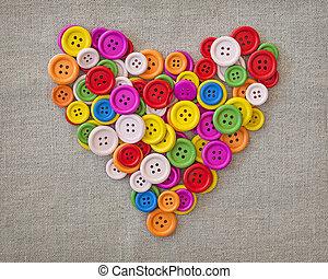 Botões, Coração, coloridos