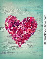 Botões, Coração, vermelho