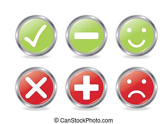 botões, de, validação, ícones