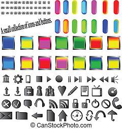 botões, e, ícones