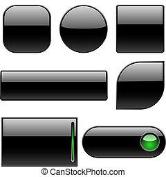 botões, em branco, pretas, plástico