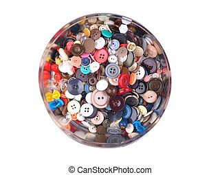 botões, em, um, caixa, ligado, um, fundo branco