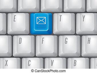 botões, email