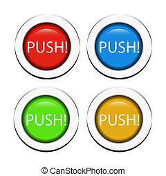botões empurrão, vetorial
