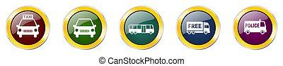 botões, eps, webdesign, ícones, veículo, lustroso, 10, caminhão, aplicações, transporte, móvel, vetorial, jogo, car, coloridos, fundo, teia, autocarro, branca