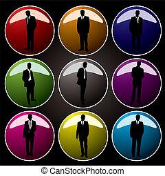 botões, escritório, colorido