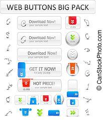 botões, grande, download, jogo, setas