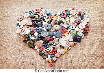 botões, heart., dia, valentine