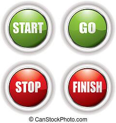 botões, início, parada