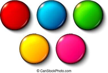 botões, jogo, brilhante