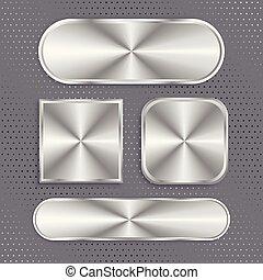 botões, jogo, escovado, superfície, metálico