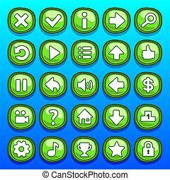 botões, jogo, jogo, verde
